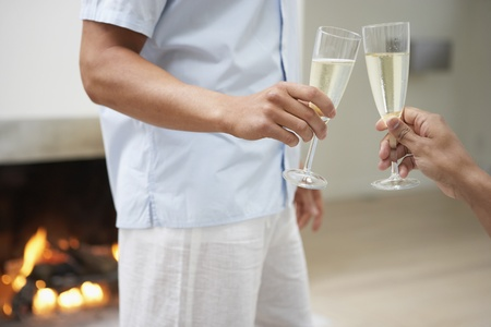 Male couple toasting with champagne in livingroom