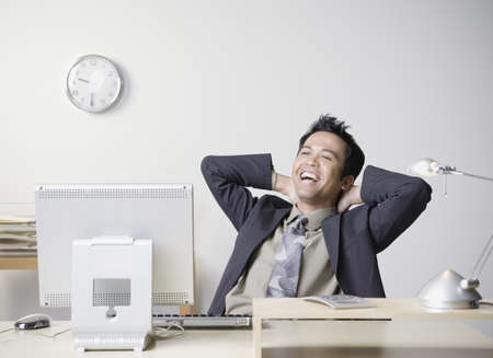 apathy: Asian businessman laughing