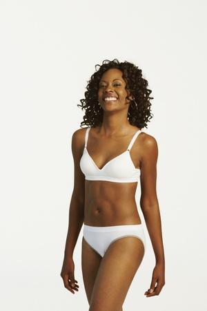 Studio shot of African woman wearing underwear