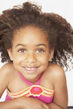 three persons only: Close up of African girl smiling
