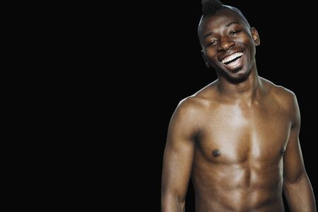 barechested: Studio shot of bare-chested African man