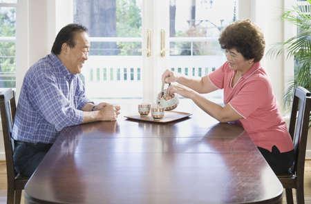 gramma: Senior Asian couple having tea