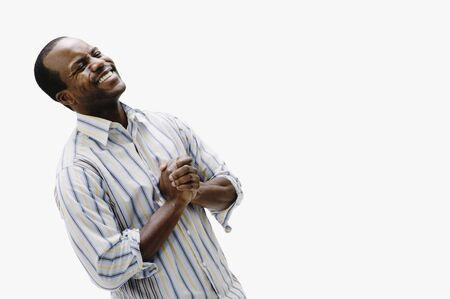 Portrait of African man laughing Stock Photo