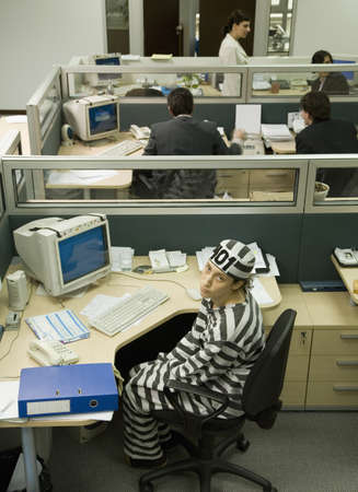 frustrating: Hispanic businesswoman wearing convicts clothing LANG_EVOIMAGES
