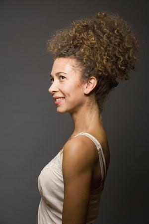 underskirt: Studio shot of Hispanic woman wearing slip