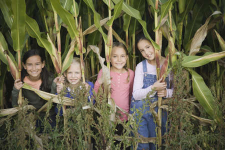 pacific islander ethnicity: Young girls in cornfield LANG_EVOIMAGES