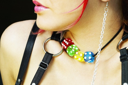 warmers: Close up of young woman wearing punk clothing and jewelry
