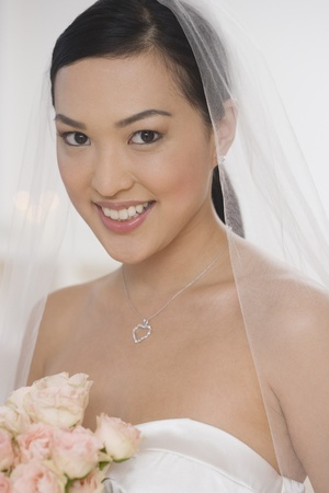 casualness: Close up of Asian bride LANG_EVOIMAGES