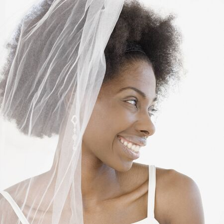 Close up of African bride in veil