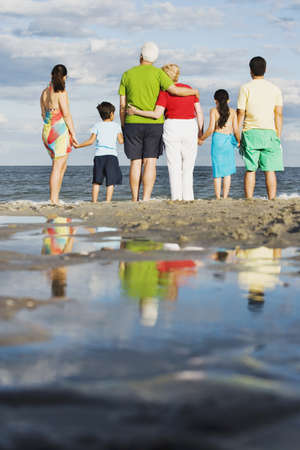 poppa: Rear view of family holding hands at beach