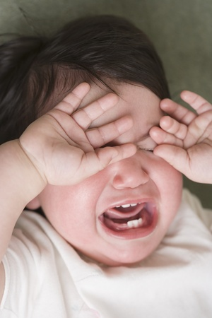 only child: Close up of Hispanic baby crying LANG_EVOIMAGES