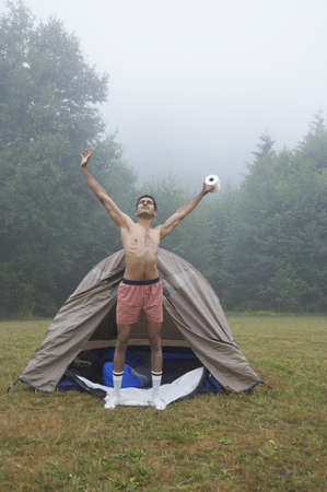 boxer shorts: Indian man wearing boxer shorts at campsite
