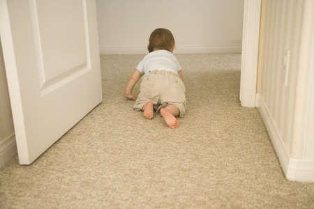 bebe gateando: Bebé que se arrastra a través de puerta