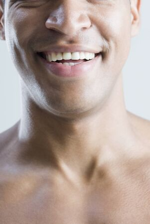 mouth close up: Close up of African man smiling
