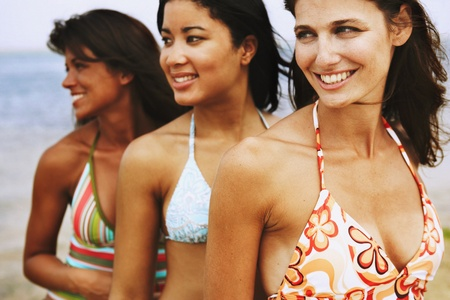 bathing suits: Three woman wearing bathing suits