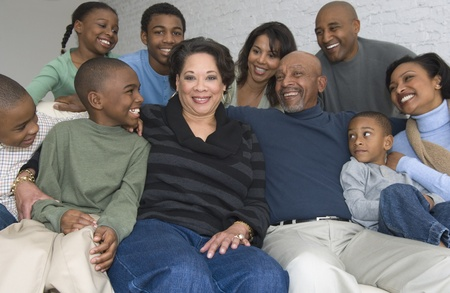 casualness: Portrait of multi-generational African family