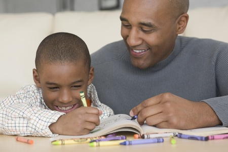African father and son coloring