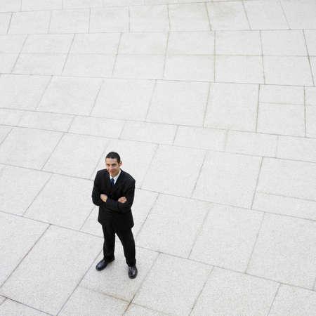 high angle: High angle view of Hispanic businessman