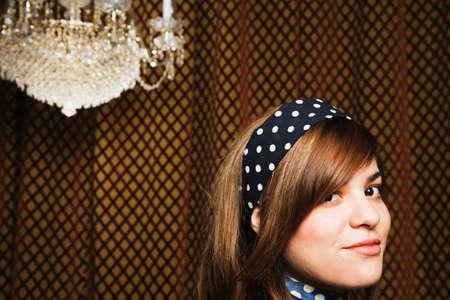 motioning: Mixed Race woman wearing headband