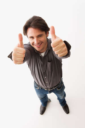 fulfilling: Man giving thumbs up with both hands LANG_EVOIMAGES