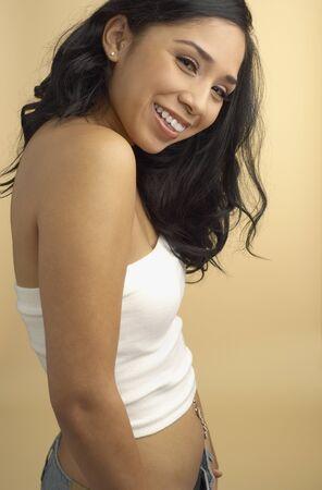 irish ethnicity: Hispanic woman wearing tube top