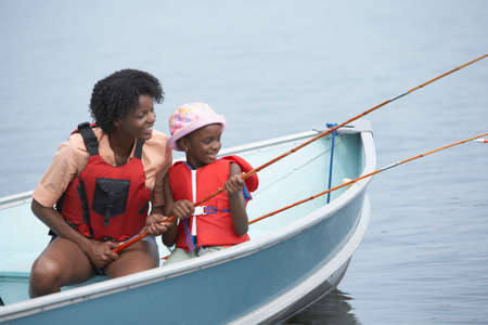 interrogating: African mother and son fishing