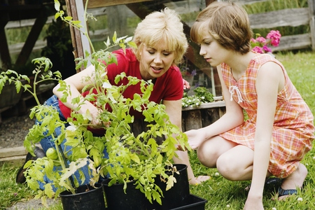 cooperating: Mother and daughter gardening LANG_EVOIMAGES