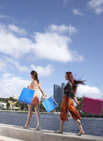 stepping: Multi-ethnic friends carrying shopping bags LANG_EVOIMAGES