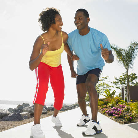 athletic gear: African couple wearing athletic gear