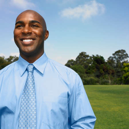 African businessman in field Stock Photo