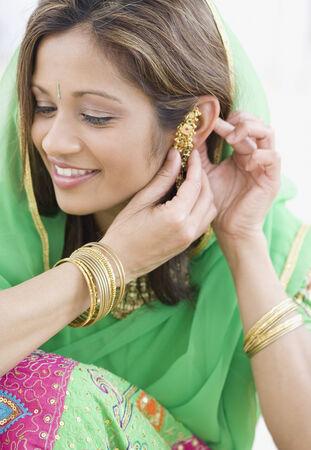 pj's: Indian woman wearing traditional dress