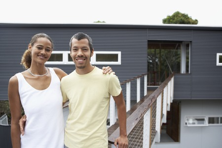 native american ethnicity: Ethnic-ethnic couple in front of house