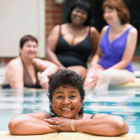 only seniors: Multi-ethnic senior women in swimming pool