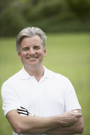 middleaged: Middle-aged man on golf course