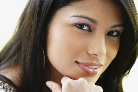 eagerness: Close up of South American woman smiling