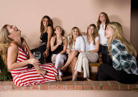 medium group: Group of Hispanic women at party