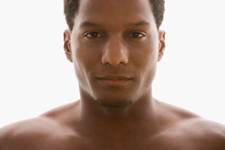 bare shoulders: African American man with bare shoulders