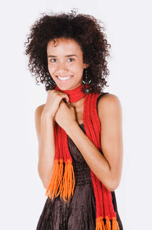 sloping: Mixed Race woman wearing scarf
