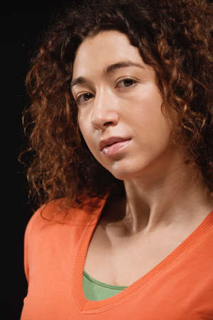 sopping: Mixed Race woman with curly hair