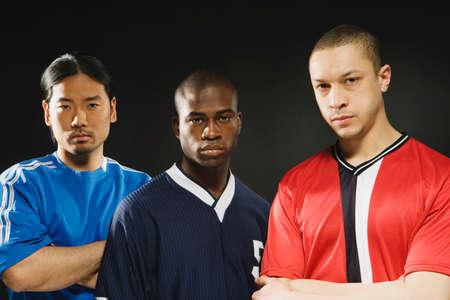 Group of multi-ethnic male athletes Stock Photo