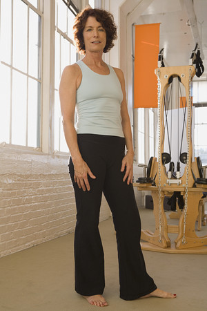 holistic view: Senior woman in exercise studio