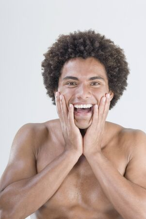 gratifying: Mixed Race man with bare chest LANG_EVOIMAGES