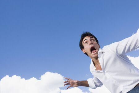endangering: Frightened man yelling