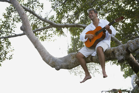 confiding: South American man playing guitar in tree