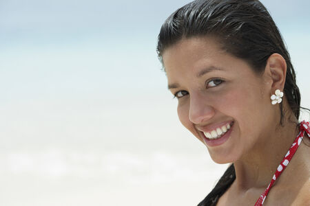 south american ethnicity: South American woman at beach