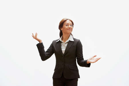 arms out: Hispanic businesswoman with arms out