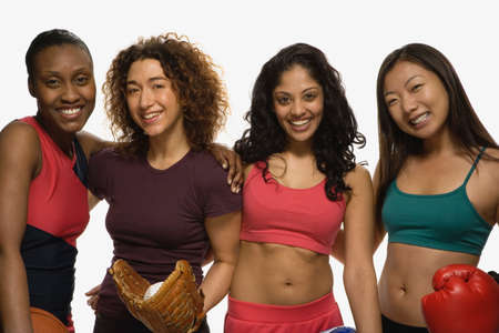 athletic gear: Multi-ethnic women in athletic gear