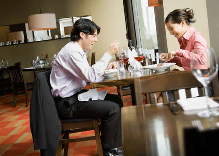 eastern asian: Asian couple at restaurant