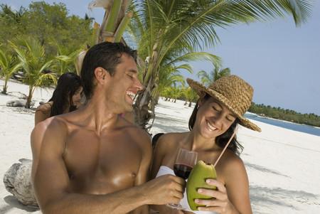 Hispanic couple at beach