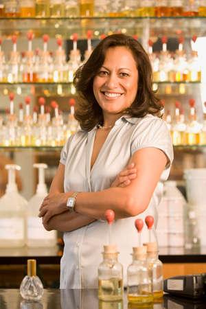 barkeep: Hispanic female sales clerk at perfume store